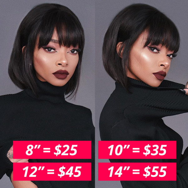Flash Sale - Straight Machine Made Bob Wigs With Bangs Short Wigs