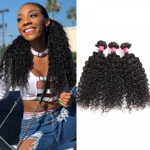 Jerry Curly Hair 3 Bundles Natural Black 100% Peruvian Human Hair Weaving