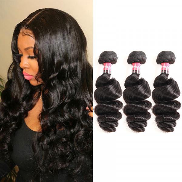 Unprocessed Virgin West Kiss Hair Peruvian Loose Wave Wavy 3 Bundle/lot
