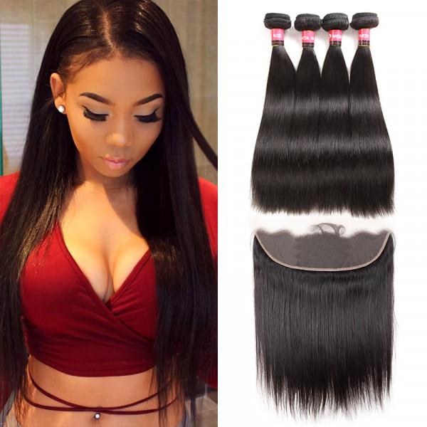 Malaysian Hair Weave 4 Bundles With 13*4 Human Hair Lace Frontal Cheap Straight Hair Weave