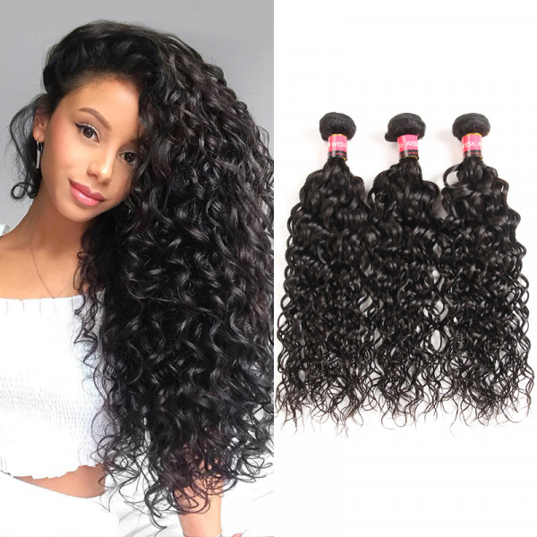 High Quality Natural Wave Hair 3 Bundles  Malaysian Virgin Hair Wet And Wavy