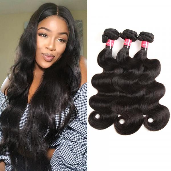 Malaysian Body Wave 3 Bundles Natural Black Virgin Hair West Kiss Product