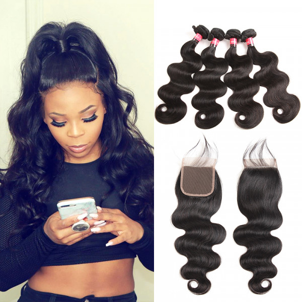 Brazilian Body Wave Hair 4 Bundles And Body Wave Virgin Hair Lace Closures