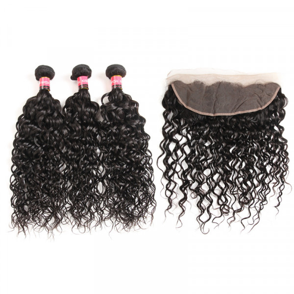 Water Wave Weave 3pc And 13*4 Lace Frontal Closures Natural Wave