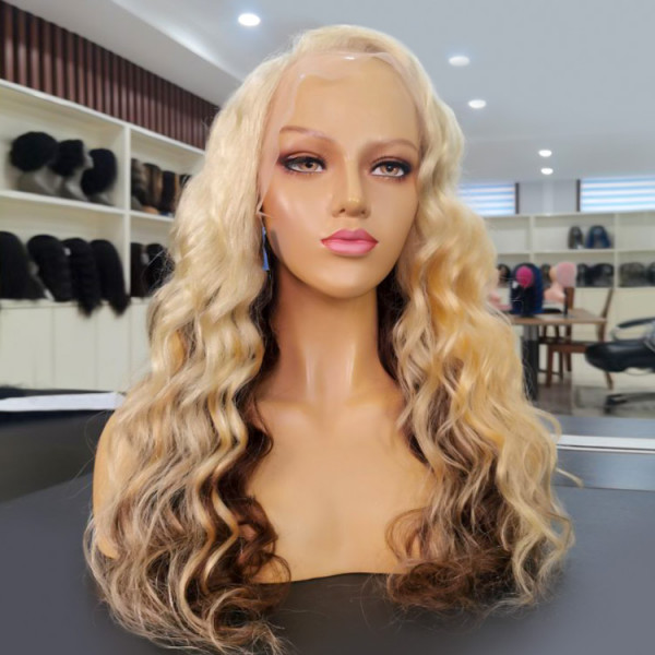 Ombre Colored Wigs Body Wave Hair Lace Frontal Wigs DL613/4#