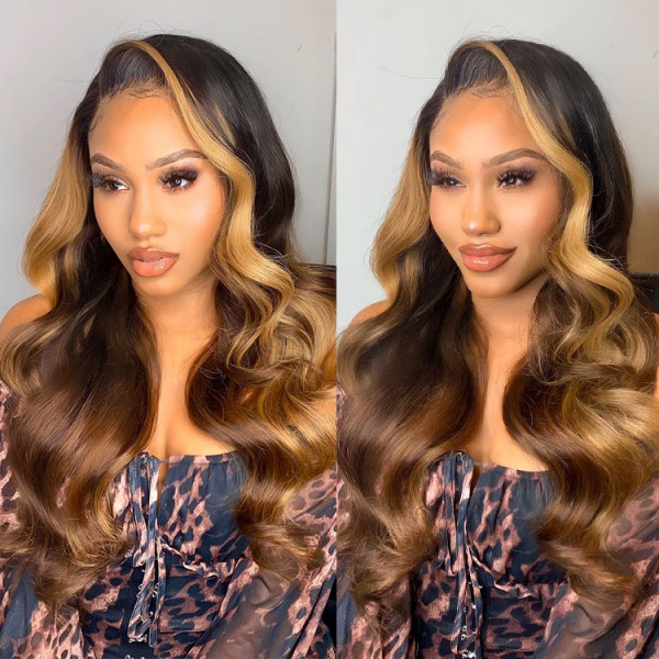 Ombre Lace Front Wig Human Hair Body Wave Colored Wigs