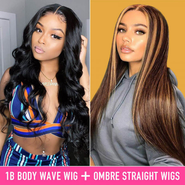 Pay 1 Get 2 Wigs Body Wave Wigs And Straight Highlight Wigs