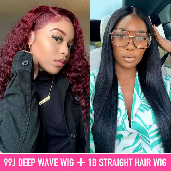 99J Deep Wave Wigs And Straight Wigs Buy 1 Get 1 Free Wig Deal