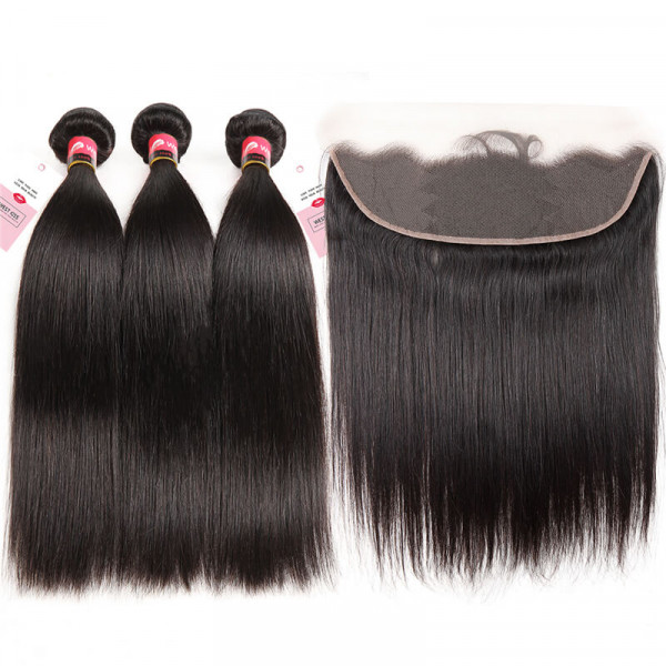 Peruvian Straight 3 Bundles And a 13x4 Lace Frontal 100% Real Straight Virgin Hair