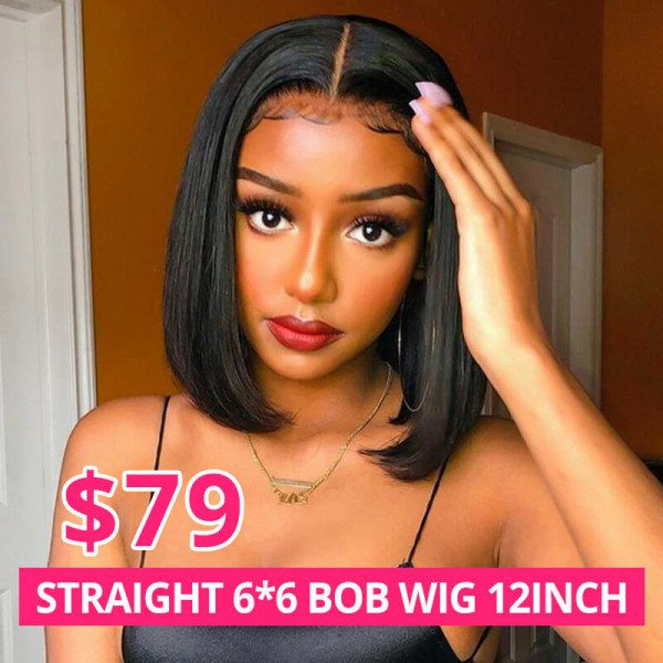 6*6 Bob Wig 12inch Straight Hair Short Wig 180% Density Medium Size
