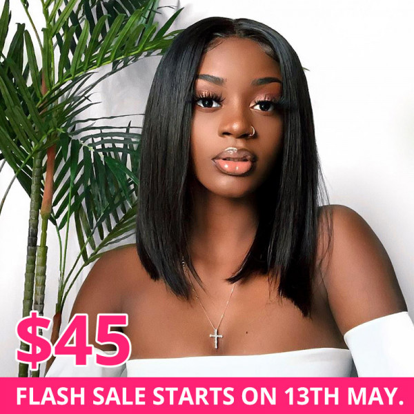 Limited Sale - Straight Human Hair Bob Lace Wigs Middle Part
