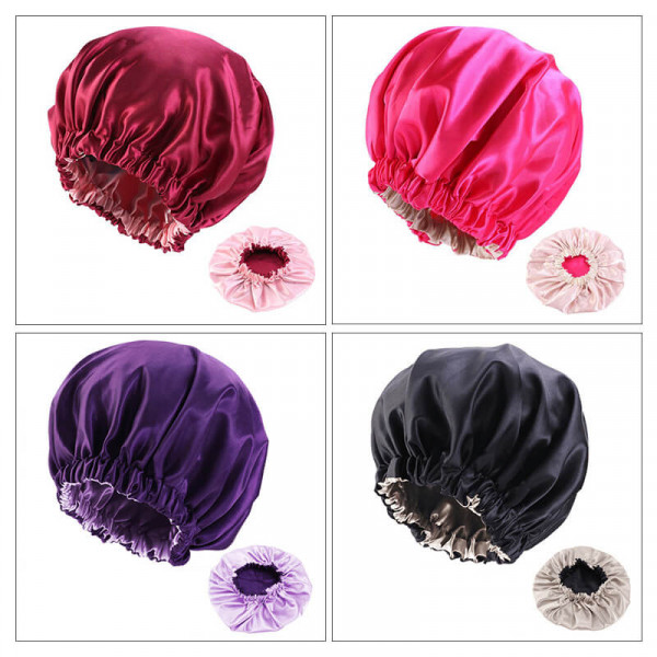 Hair Bonnet Satin Silk Bonnet Sleep Night Cap Head Cover Bonnet Hat For Women