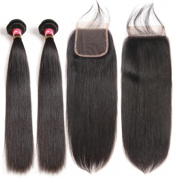Brazilian Straight Hair 2 Bundles And a 4*4 Brazilian Straight Virgin Hair Lace Closure