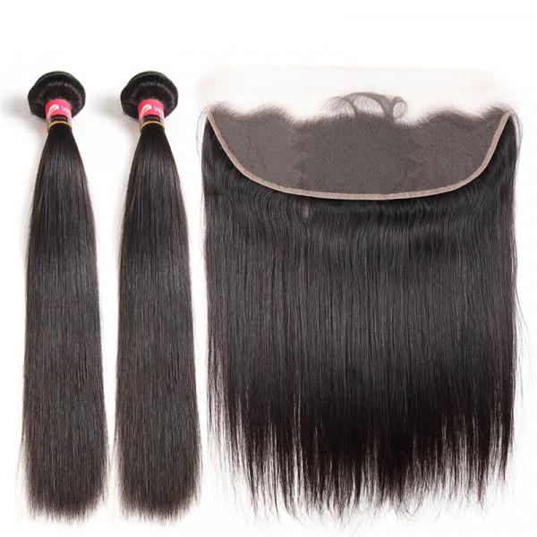 Brazilian Virgin Hair Straight Hair 2 Pcs With a 13*4 Lace Frontal Brazilian Bundles With Lace Frontal