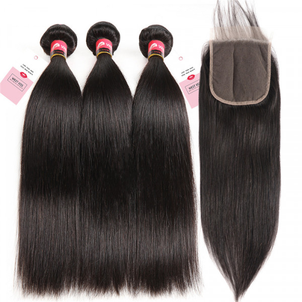 Straight Human Hair 3 Bundles And 5*5 Lace Closure Bundle Deals With Closure