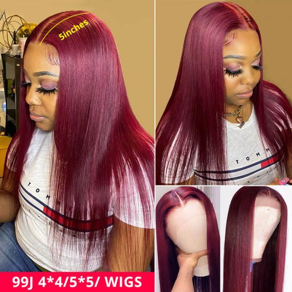 99J Wigs Straight Hair 5*5 / 4*4 Closure Wigs Pre Colored Lace Wigs