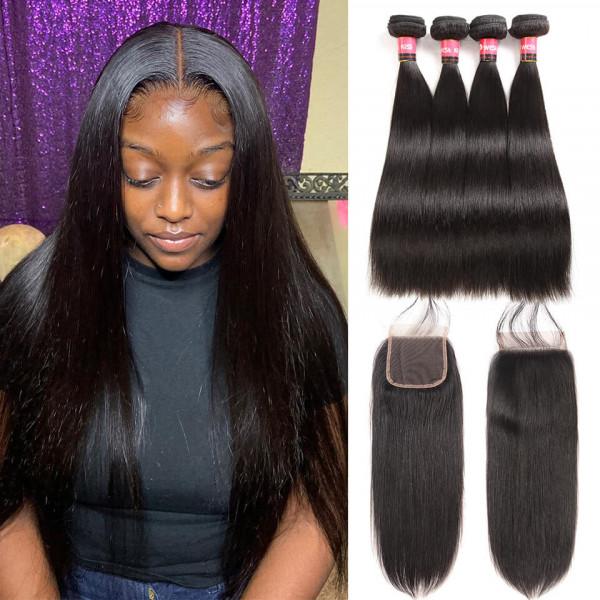 Brazilian Hair Bundles Straight Hair With Closure 4 Bundle Deals With 4x4 Closure