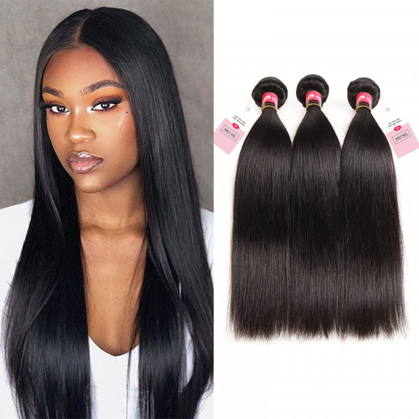 West Kiss Hair 3 Bundles Brazilian Straight Hair Weaving