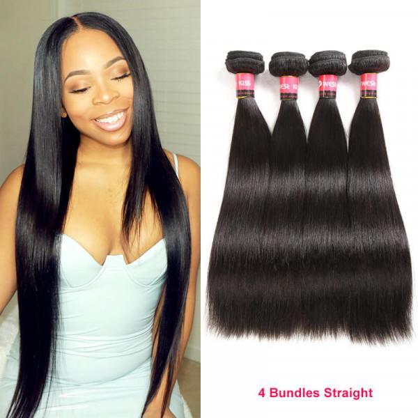 West Kiss Product Peruvian Virgin Hair Straight 4 Bundles Human Hair Weave