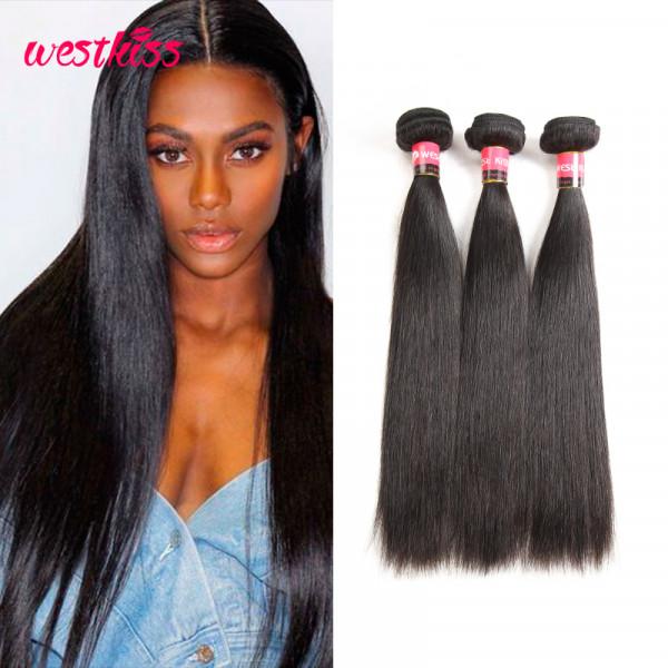 Peruvian Straight Virgin Hair 3 Bundles West Kiss Product 8A grade