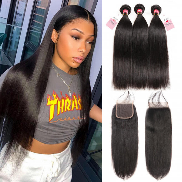 West Kiss Brazilian Straight Hair 3 Bundles With Lace Closures Straight Human Hair