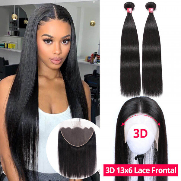 13x6 Lace Frontal With 2 Bundles Straight Hair Brazilian Virgin Hair Bundles With Frontal