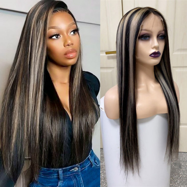 Straight Black Wigs With Gray Highlights Lace Front Wig