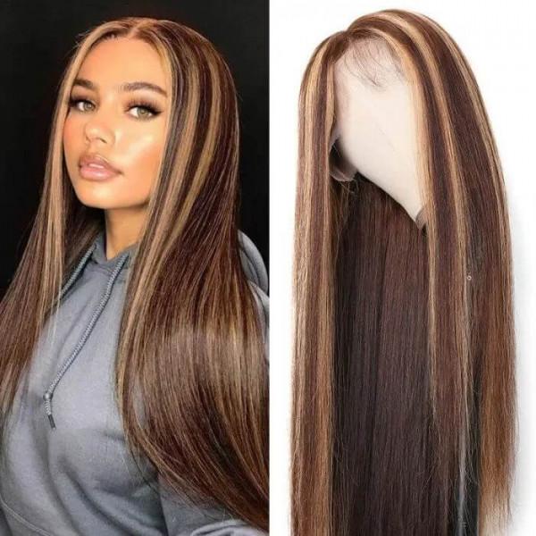 Straight Highlight Wigs 4*4 5*5 Ombre Wigs Pre Colored Lace Wigs