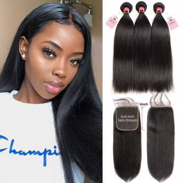 3 Bundles Straight Hair Bundles And 6*6 Swiss Lace Closure Long Straight Hairstyles Straight Hair Weave With Closures