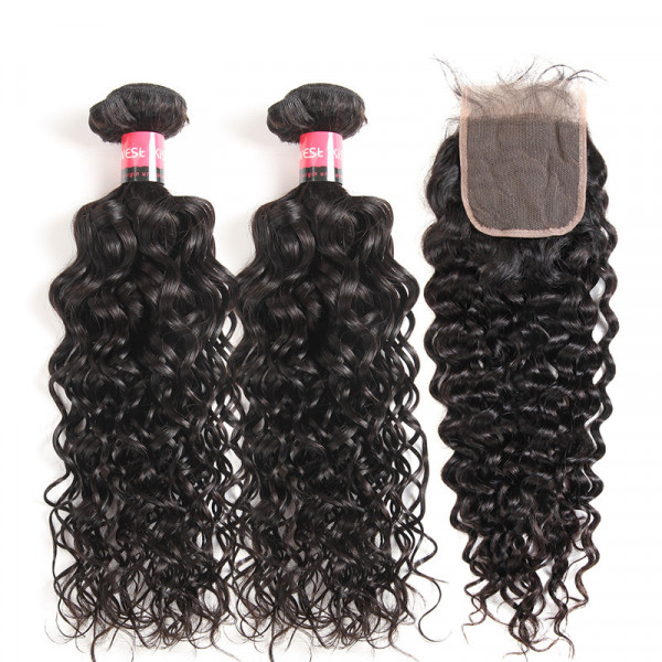 Water Wave Hair 2 Bundles Natural Wave With a 4*4 Human Hair Lace Closure Piece