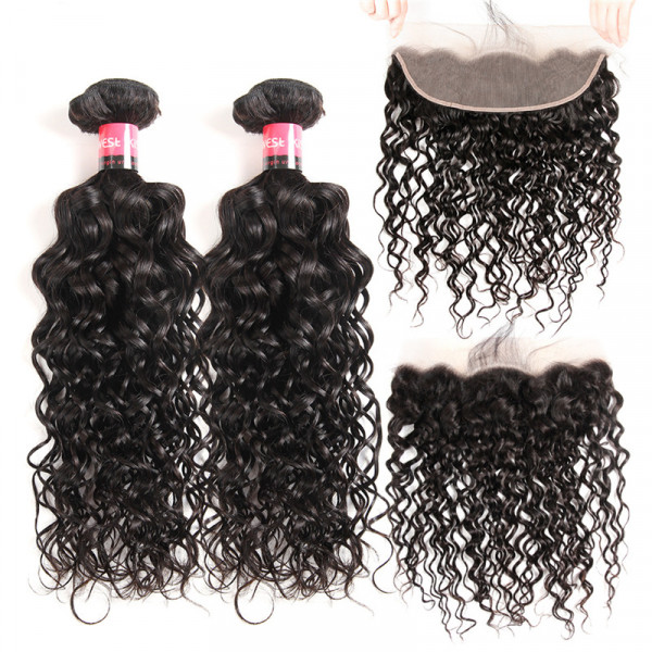 Lace Frontal Water Wave And 2 Bundles Natural Wave Virgin Hair Bundles Wet And Wavy Human Hair Bundles With Full Lace Frontal