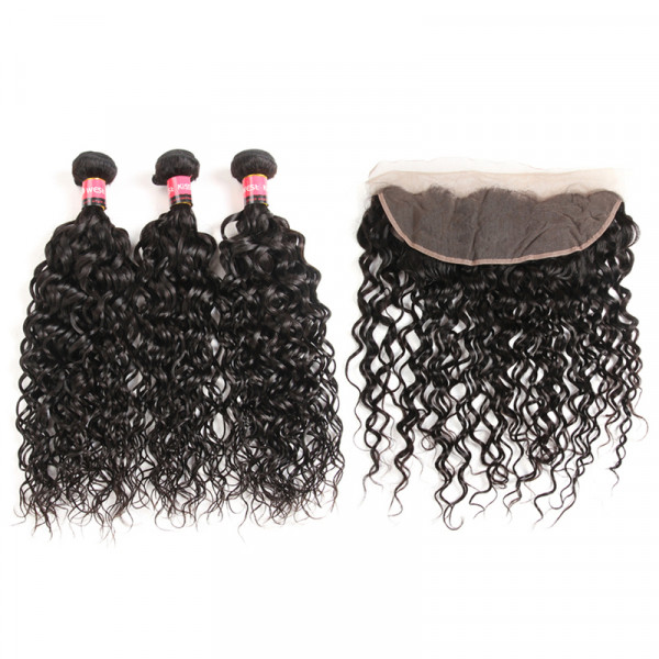 Peruvian Water Wave Human Hair 3 Bundles With 13x4 Lace Frontal Closure Natural Wave Wet Wavy Weave