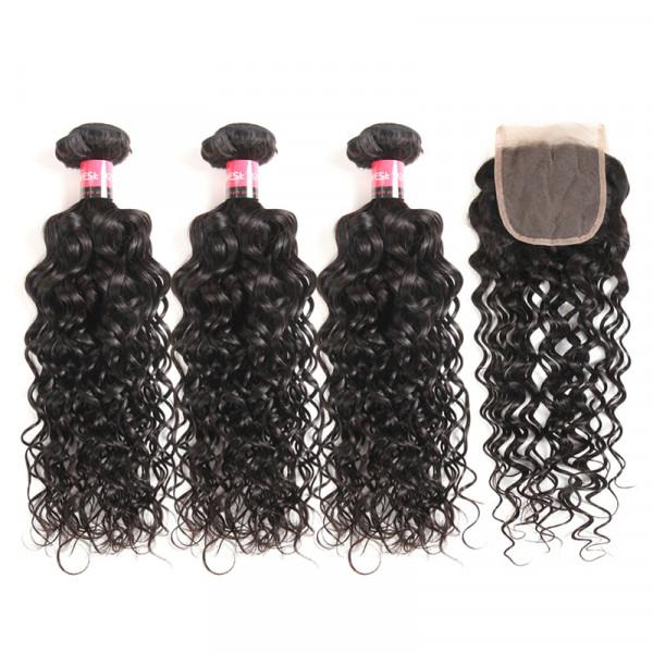 Natural Wave Peruvian Human Hair 3 Bundles With 4*4 Lace Closure