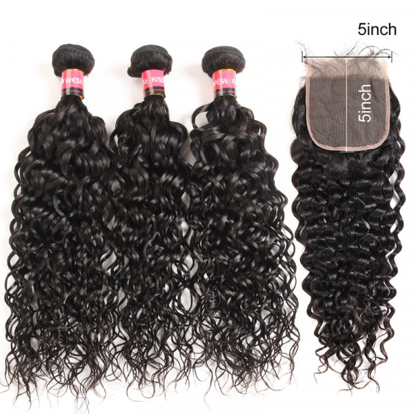 Water Wave Hair 5*5 Lace Closure With 3 Bundles Brazilian Natural Wave Human Hair Bundles