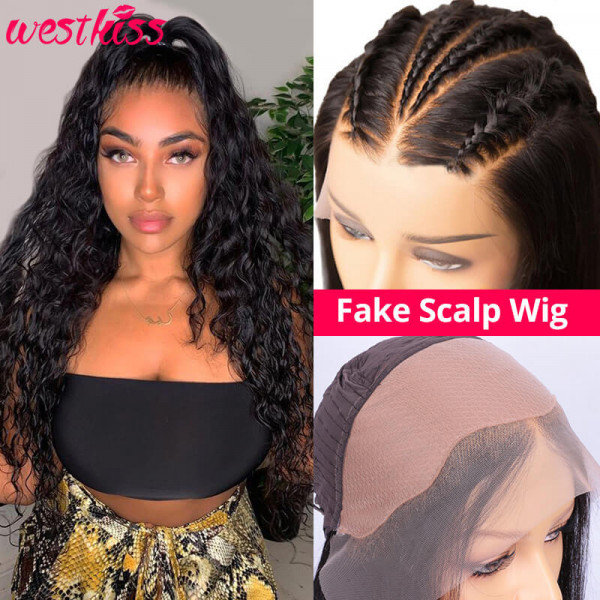 Water Wave Fake Scalp Wigs Effortless Wigs Natural Wave Human Hair Wigs