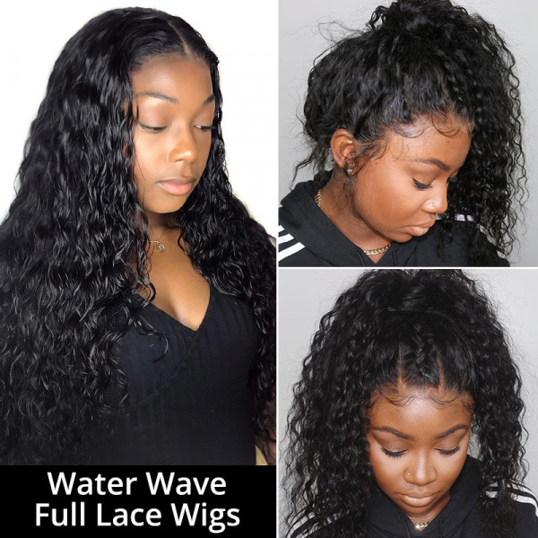 Water Wave Lace Wigs Full Lace Wigs 180% Density Natural Looking Wigs Affordable Black Human Hair Wigs For Women