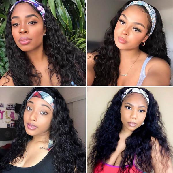 African American Headband Wigs Water Wave Virgin Human Hair