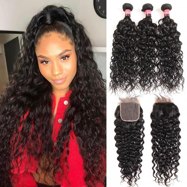 Brazilian Natural Wave 3 Bundles Hair With 4*4 Hair Closures Water Waves