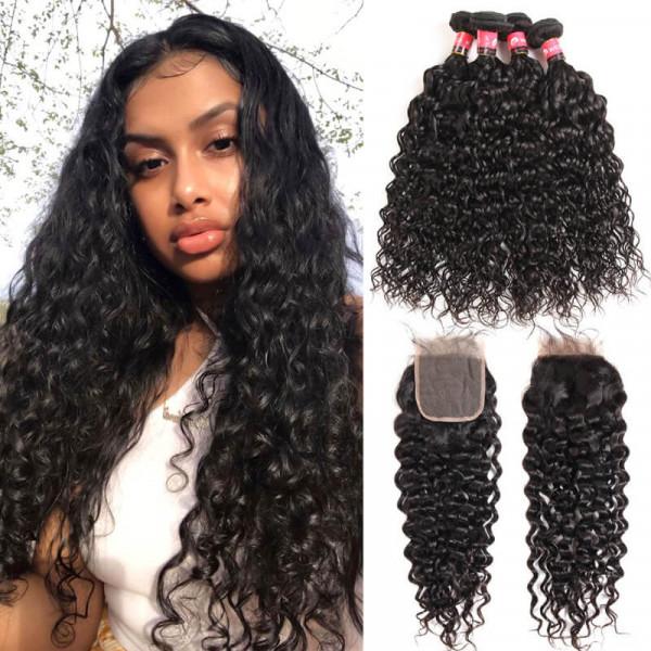 Natural Wave Hair 4 Bundles And Natural Wave Brazilian Virgin Hair 4*4 Lace Closures