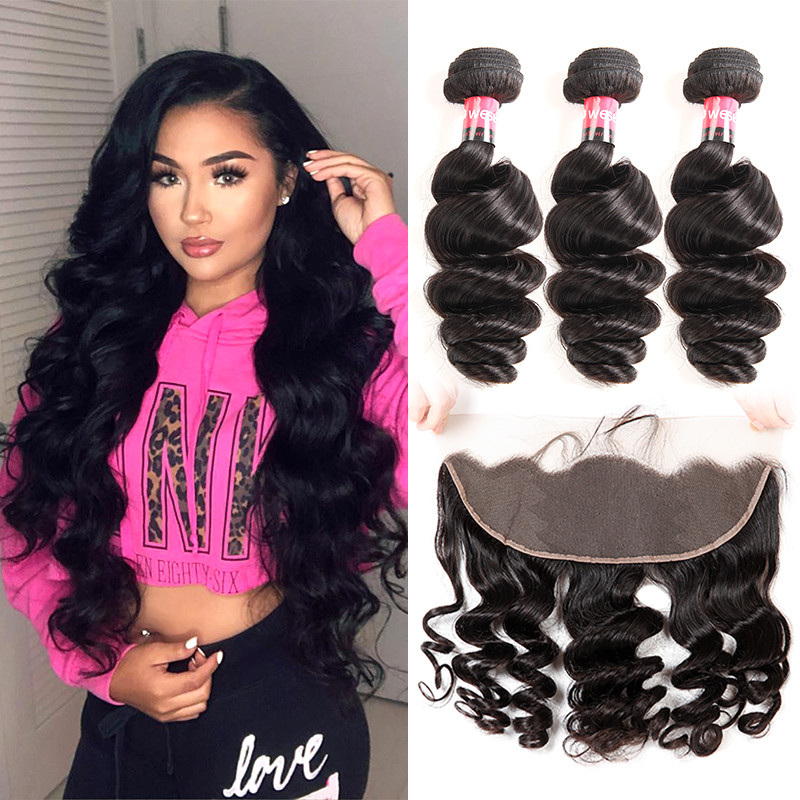 Loose Wave 3 Bundles With 134 Lace Frontal Human Hair Weave With