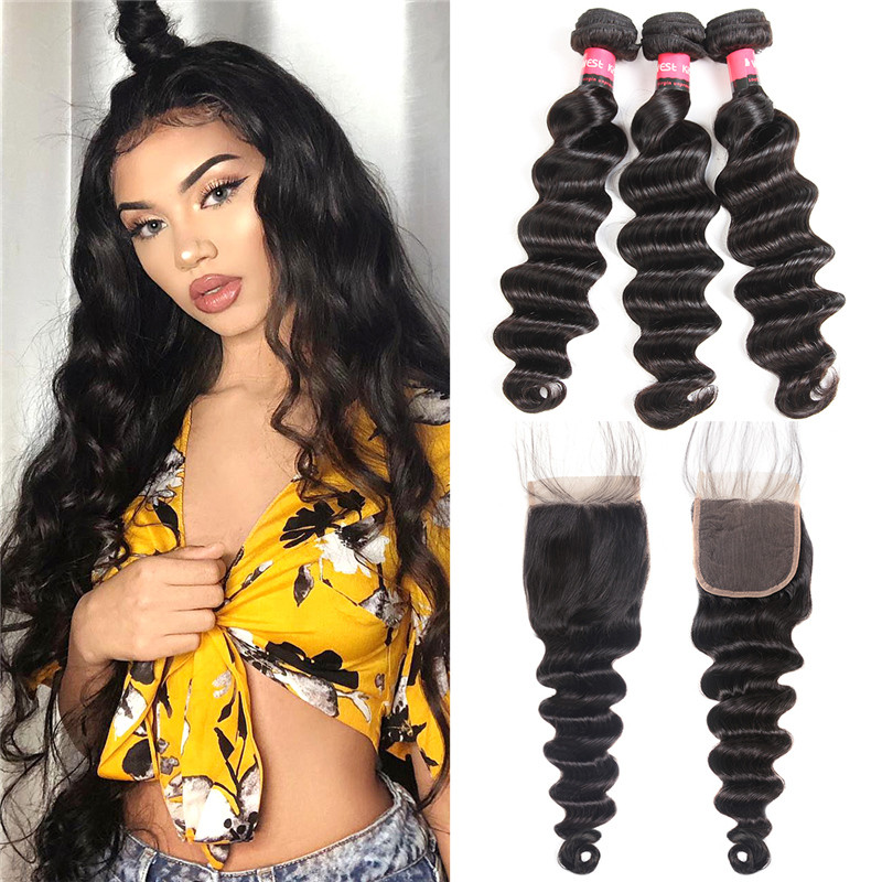 Loose Deep 3pc Weaves With Closures 44 Lace Closures Human Hair
