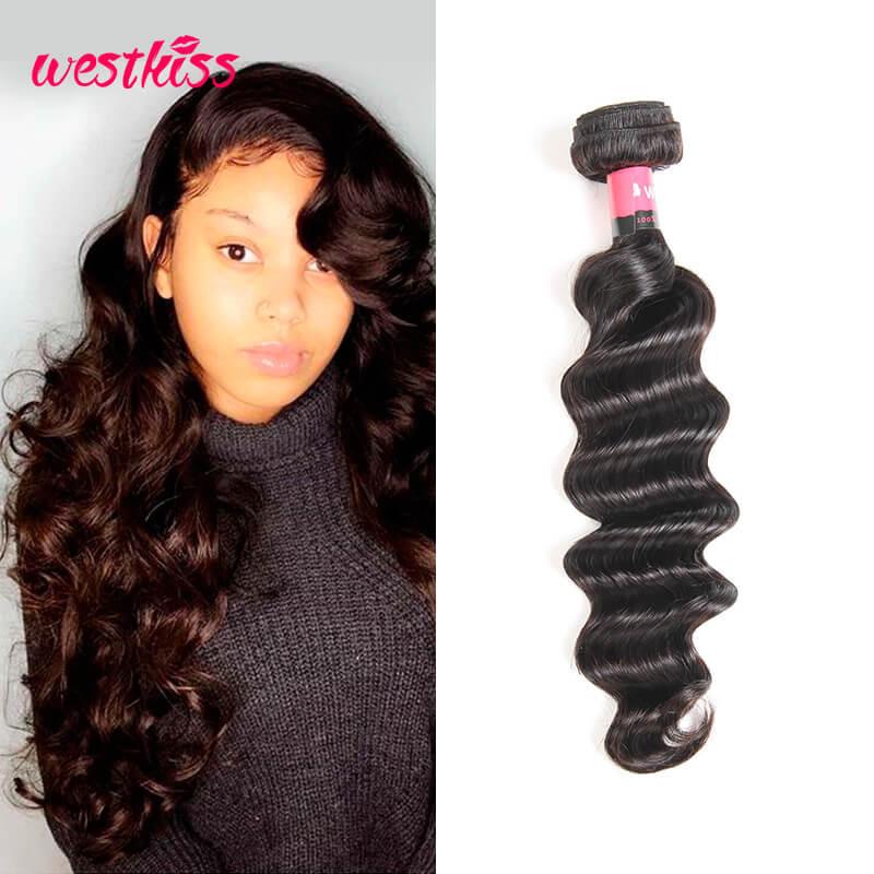 One Bundle Only Brazilian Loose Deep Wave Human Hair Bundles West