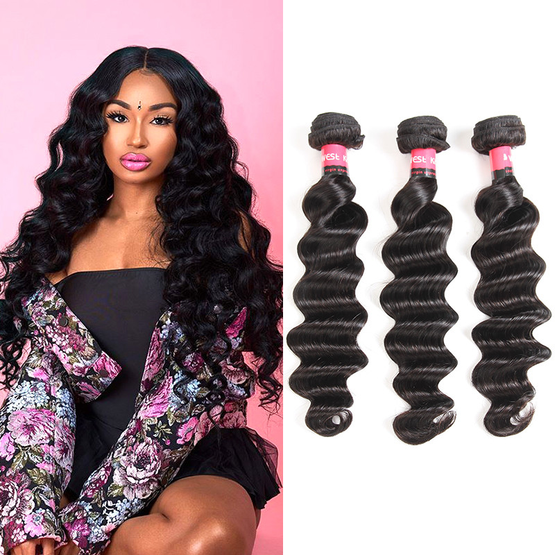 West Kiss Peruvian Virgin Hair Loose Deep Wave 3 Pcslot Cheap Human