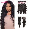 Brazilian Loose Deep Wave 4 Bundles With 4*4  Lace Closure Human Virgin Hair