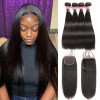 Brazilian Hair Bundles Straight Hair With Closure 4 Bundle Deals With 4x4 Closure