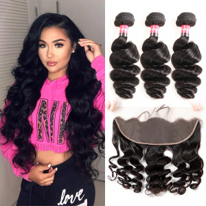 Loose Wave 3 Bundles With 13*4 Lace Frontal Human Hair Weave With Closure