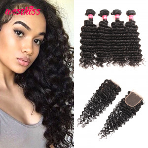 Best Human Hair Brazilian Deep Wave Virgin Hair 4 Pcs With 4*4 Lace Closure
