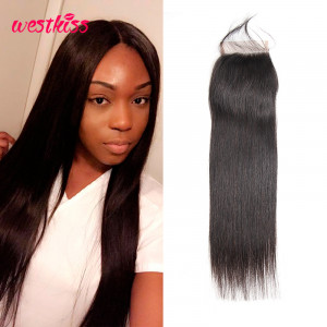 West Kiss Brazilian Hair Closure Straight Human Hair 4*4 Lace Closures