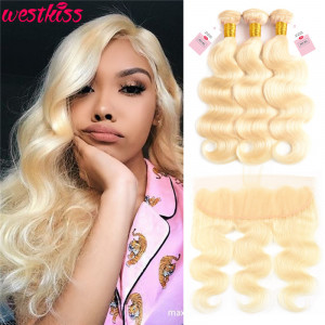 Color 613 Body Wave 3 Bundles With 13*4 Lace Frontal Blonde Hair