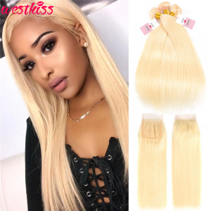 #613 Pure Blonde Brazilian Straight Hair 3 Bundles With Closure